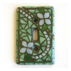 Summer Garden GLOW Single Mosaic Light Switch Cover by Mosaic Smith - A pretty switchplate like this adds an extra-special something, like jewelry for the room.