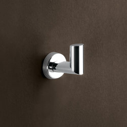 "Simple Chrome Towel Hook - This beautiful bathroom hook is made of brass in a polished chrome finish. Hook is designed in Italy by high-end brand Gedy. Width:1.85"" Height:2.24"" Depth:2.17"""