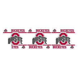 Sports Coverage - NCAA Ohio State Buckeyes Self Stick Wall Border - It's so quick and amazing, just peel and stick! Self-stick, removable, and reusable NCAA Ohio State Buckeyes Wall Borders are the easy way to decorate and won't damage walls! Peel and Stick technology will adhere to any smooth surface. Washable and dry strippable. Colorful graphics are printed on durable, tear-resistant vinyl wall border in the repeating pattern shown. Size: 5 x 15' long per package. It's so quick and amazing, just peel and stick! Installation has never been so easy!