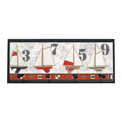 illumalite Designs - Captains Harbor Plaque Coat Rack with Pegs - Sailboats are featured on this nautical plaque. This 10.25 in. by 25 in. plaque is the perfect way to add a nautical touch to any room. Features 4 painted wooden pegs to hold anything from coats to keys. The handpainted black border highlights the colorful design
