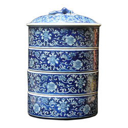 Golden Lotus - Porcelain Round Shape Blue & White Stack Candy Box - This is a stylish elegant decorative accent for the modern home. It can become a few dishes for candy or accessories display. When all stack together, it is a home decoration charm.