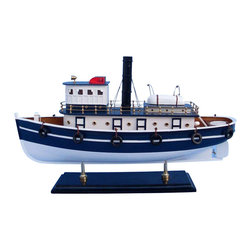 "Handcrafted Model Ships - Brooklyn Harbor Tug 19"" - Wooden Model Fishing Boat - Not a model ship kit"