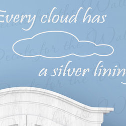 Decals for the Wall - Wall Quote Decal Sticker Vinyl Lettering Decorative Decoration Every Cloud I42 - This decal says ''Every cloud has a silver lining''