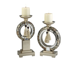 ORE International - 2-Pc Candle Holder Set in Silver - Includes small and large candle holders with vanilla scented candles. Unique design. Bronze and gold chrysanthemum floral. Little pieces of glass placed together. Two toned golden ropes tied around the neck of vase. Warranty: 30 days. Made from polyresin. No assembly required. Small: 7 in. L x 1.5 in. W x 17.5 in. H. Large: 9 in. L x 1.5 in. W x 17.5 in. H. Weight: 6 lbs.Use as a lovely display in one's home to create a calm and soothing sensation.