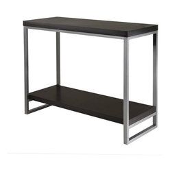 """Winsome - Jared Console Table - Create a modern theme with the Jared Collection, table legs are made of enamel steel with black MDF top. Features: -One shelf.-Modern theme.-Tube frame.-Black finish.-Collection: Jared.-Distressed: No.-Powder Coated Finish: No.-Gloss Finish: No.-Solid Wood Construction: No.-Reclaimed Wood: No.-Hardware Material: Metal.-Non-Toxic: Yes.-UV Resistant: No.-Scratch Resistant: No.-Stain Resistant: No.-Moisture Resistant: No.-Drop Leaf Top: No.-Lift Top: No.-Storage Under Table Top: No.-Adjustable Height: No.-Glass Component: No.-Nested Stools Included: No.-Legs Included: Yes -Number of Legs: 4..-Magazine Rack: No.-Casters: No.-Exterior Shelves: Yes -Number of Exterior Shelves: 1.-Adjustable Exterior Shelves: No..-Cabinets Included: No.-Drawers: No.-Corner Block: No.-Cable Management: No.-Weight Capacity: 75 lbs.-Outdoor Use: No.-Swatch Available: No.-Commercial Use: No.-Recycled Content: No.-Eco-Friendly: No.Specifications: -FSC Certified: No.-ISTA 3A Certified: No.-ISTA 1A Certified: No.-CARB Certified: Yes.-General Conformity Certified: Yes.-ISO 9000 Certified: No.-ISO 14000 Certified: No.Dimensions: -Overall Height - Top to Bottom: 30.47"""".-Overall Width - Side to Side: 40"""".-Overall Depth - Front to Back: 15.98"""".-Table Top Thickness: 1.57"""".-Table Top Width - Side to Side: 40"""".-Table Top Depth - Front to Back: 15.98"""".-Shelving: -Shelf Height - Top to Bottom: 21.54"""".-Shelf Width - Side to Side: 37.48"""".-Shelf Depth - Front to Back: 14.17""""..-Legs: Yes.-Overall Product Weight: 29 lbs.Assembly: -Assembly Required: Yes.-Tools Needed: Hardware included.-Additional Parts Required: No.Warranty: -Product Warranty: Replacement parts within 60 days from date of purchase."""