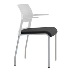 Steelcase - Steelcase | Move Chair, Upholstered - Designed to move, mold, and conform to practically every body, this lightweight stackable chair can go anywhere. Under the slim upholstered seat of the Move chair is a system of dynamic flexors that curve to fit your curves. Using LiveSeat™ ergonomic technology, Move's seat flexors create a comfort pocket that supports and moves with you — shaping and reshaping itself to ensure comfort for whomever sits down, no matter how long they sit. The optional cantilevered fixed arms clear work surfaces and allow for easy access and various sitting positions, making this multipurpose chair ideal for a variety of settings. The Move Chair features an upholstered seat, or upholstered seat and back available in a wide array of fabric colors with shell, arm, glide and frame options. Also available in a colorful, non-upholstered plastic model. Product Features:  Exceptionally durable and stacks 5 high on the floor for convenient storage and transport Designed to accommodate multiple users of various sizes with a maximum weight capacity of 300 lbs. Arrives fully assembled and includes the manufacturer's limited lifetime warranty Made from up to 21% recycled materials, is 99% recyclable and disassembles in 5 minutes for easy sorting SCS Indoor Advantage™, BIFMA level™ 1, and Cradle to Cradle® certified