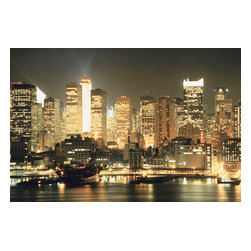 Custom Photo Factory - New York City Lit up at Night Canvas Wall Art - New York City Lit up at Night  Size: 20 Inches x 30 Inches . Ready to Hang on 1.5 Inch Thick Wooden Frame. 30 Day Money Back Guarantee. Made in America-Los Angeles, CA. High Quality, Archival Museum Grade Canvas. Will last 150 Plus Years Without Fading. High quality canvas art print using archival inks and museum grade canvas. Archival quality canvas print will last over 150 years without fading. Canvas reproduction comes in different sizes. Gallery-wrapped style: the entire print is wrapped around 1.5 inch thick wooden frame. We use the highest quality pine wood available. By purchasing this canvas art photo, you agree it's for personal use only and it's not for republication, re-transmission, reproduction or other use.