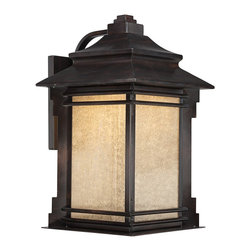 "Franklin Iron Works - Arts and Crafts - Mission Hickory Point 19"" High Outdoor LED Light - Add energy efficent lighting to your home's exterior with this outdoor LED wall light. The design features a classic carriage house look. It comes in a bronze finish with copper highlights and has frosted cream glass panels. Behind the panels is a 16 watt LED module that has the same light output as a regular 100 watt incandescent bulb but uses far less energy. A Franklin Iron Works outdoor light design. Light output of 1300 lumens. 19"" high. 11 1/1"" wide. Extends 13 1/2"" from the wall.  Frankline Iron Works LED light.  Bronze finish with copper highlights.  Frosted cream glass panels.  16 watt LED.  Not dimmable.  California Title 24 compliant.  Equals a regular 100 watt bulb.  Light output of 1300 lumens.  19"" high.  11 1/2"" wide.  Extends 13 1/2"" from the wall."