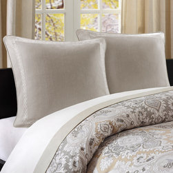 Echo - Echo Odyssey Euro Sham - The Odyssey Euro sham is made from 100% cotton faux linen in a khaki color. This sham has an intricate ivory embroidery along its edge giving a delicate feel to this large pillow. 100% cotton faux linen fabric, with embr