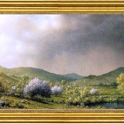 "Martin Johnson Heade-14""x28"" Framed Canvas - 14"" x 28"" Martin Johnson Heade April Showers framed premium canvas print reproduced to meet museum quality standards. Our museum quality canvas prints are produced using high-precision print technology for a more accurate reproduction printed on high quality canvas with fade-resistant, archival inks. Our progressive business model allows us to offer works of art to you at the best wholesale pricing, significantly less than art gallery prices, affordable to all. This artwork is hand stretched onto wooden stretcher bars, then mounted into our 3"" wide gold finish frame with black panel by one of our expert framers. Our framed canvas print comes with hardware, ready to hang on your wall.  We present a comprehensive collection of exceptional canvas art reproductions by Martin Johnson Heade."