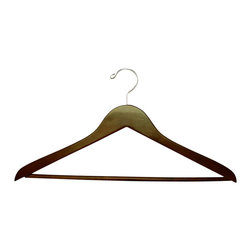 Proman Products - Proman Products Genesis Flat Suit Hanger w/Wooden Bar in Walnut - Genesis flat suit hanger w/wooden bar, light walnut, chrome, 44.5Lx1.2Tcm, 50 pcs/case