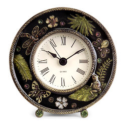 Imax Corp - Jeweled Desk Clock - Chic jeweled desk clock with botanical and butterfly images