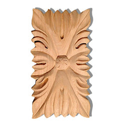 """Inviting Home - Hanover Large Wood Rosette - Red Oak - wood rosette in red oak 5-3/8""""H x 2-1/2""""W x 1/2""""D Wood carvings are hand carved in deep relief design from premium selected North American hardwoods such as alder beech cherry hard maple red oak and white oak. They are triple sanded and ready to accept stain or paint. Hardwood carvings are perfect for wall applications finishing touches on the custom cabinets or creating a dramatic focal point on the fireplace mantel."""