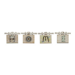 iMax - iMax Davis Found Object Home Wall Plaques, Set of 4 - From the Ella Elaine designer collection, this set of four wall plaques spell out word home using found objects over vintage wall paper patterns.