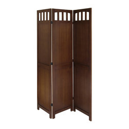 Winsomewood - 3-Panel Wood Folding Screen - This 3-Panel all wood room divider is finished in warm Walnut color with all wood framed. It is finished on both sides, folds flat for storage and transport. Create privacy in an instant.