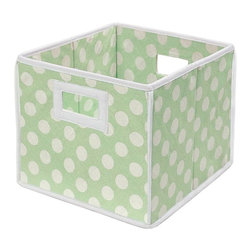 Badger Basket - Badger Basket Polka Dot Folding Basket - Set of 2 - 00220X2 - Shop for Baskets from Hayneedle.com! The Badger Basket Polka Dot Folding Basket - Set of 2 makes clutter control a breeze. Great for kids' rooms these handy folding baskets work well for clothing toys books and more - use them to store things or to do a quick round-up around the house and return everything to its proper place. Each of the two baskets has a lightweight wood frame covered in fabric even on the bottom so they don't scratch your furniture. Easy-tote handles make them perfect for little hands and if you remove the bottom insert the cubes fold flat for storage. Fabric is a cotton/poly blend which can be spot-cleaned as needed. Reinforced binding on the edges resists wear and tear. Each basket measures 10L x 9W x 11H inches. Choose from a variety of polka dot fabric colors.Badger Basket CompanyFor over 65 years Badger Basket Company has been a premier manufacturer of baskets bassinets bassinet bedding changing tables doll furniture hampers toy boxes and more for infants babies and children. Badger Basket Company creates beautiful and comfortable products that are continually updated and refreshed bringing you exciting new styles and fashions that complement the nostalgic and traditional products in the Badger Basket line.