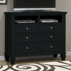 Coaster - Sandy Beach Media Chest - The Sandy Beach collection is crafted with tropical hardwoods and veneers in a rich black finish. Organizing is made easy with case pieces that feature multiple drawers for plenty of storage. The clean and straight lines enhance the modern look of this group.