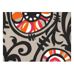 Close to Custom Linens - 75W x 72L Shower Curtain Suzani Vine, Lined - Suzani Vine is a large scale abstract floral in grey with pink and orange accents. Reinforced button holes for 12 curtain rings.