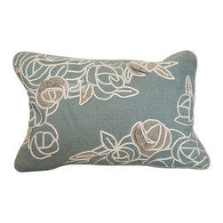Blue Floral Boudoir Pillow - Just Reduced! We just adore this Blue silk herringbone throw pillow with ivory appliqu�. Perfect for adding a touch of femininity to a love seat of bed.