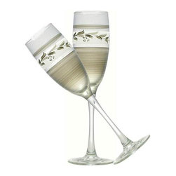 Golden Hill Studio - Pewter Vine Champagne Glasses Set of 2 - Make any night a special occasion with this elegant, sparkling wine flute. This hand-painted glass flute with a lovely vine theme is the perfect stemware for your table.