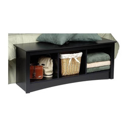 Prepac - Entryway Storage Bench w 3 Cubbies in Black - Keep any room tidy with the black Sonoma Collection bench with three storage cubbies, which is very handy for any entryway.  It's a great place to sit down and pull off muddy shoes, or for storing winter mittens and scarves.  Imagine the storage possibilities you can have when you place this storage bench below or beside your hall tree, offering a place to store shoes, blankets, and other important outdoor items.  Comes in an attractive black finish.  This storage bench will give you maximum space for storing everything from blankets to baskets filled with essential items. * Three storage compartments. Warranty: Five years. Made from CARB-compliant, MDF, laminated composite wood. Made in North America. Assembly required. Internal cubby: 13.75 in. W x 14 in. D x 12.5 in. H. Overall: 48 in. W x 15.75 in. D x 20 in. H Versatile and practical, the Cubbie Bench is at home in any room. It's equally suitable for holding your baskets, books and blankets in other areas of the home, such as at the foot of a bed. With a simple style that blends with any decor, this is one bench that won't leave you on the sidelines.