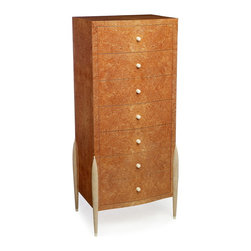"""Semainier 7 - Semainier 7 drawers, Woods used: Maple burl, legal wooly mammoth Ivory dots inlays and replacement Ivory pulls, shagreen legs, hand dovetailed maple drawers. 23.5"""" W, 19"""" D, 56"""" H. Hand polished varnish finish."""