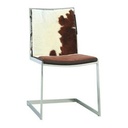 Advanced Interior Designs - Cowhide Lunar Chair, White/Brown Cowhide - Our Cowhide Lunar chairs are phenomenal; it's such a great mix of sleek chrome and natural cowhide. The Chair features a gorgeous cantilever metal frame and cowhide upholstered seat and back. Its softly padded seat and backrest run together and carry a gentle slope throughout to offer an incredible comfort. The versatile Lunar chair in cowhide is expressing elegance the modern concept of living.