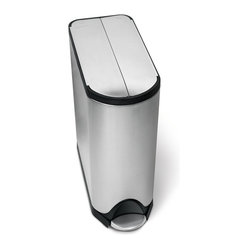 simplehuman - 45 Litre Butterfly Step Can - This pedal-activated can features a space-saving butterfly lid that requires less clearance and a slim profile that's ideal for any tight places. Wait, did you hear that? Nope. Special patented technology ensures a silent closing, every time.