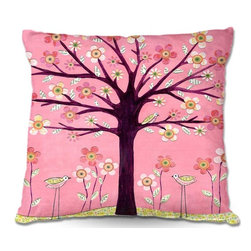 DiaNoche Designs - Pillow Linen - Sascalias Pink Bird Tree - Soft and silky to the touch, add a little texture and style to your decor with our Woven Linen throw pillows.. 100% smooth poly with cushy supportive pillow insert, zipped inside. Dye Sublimation printing adheres the ink to the material for long life and durability. Double Sided Print, Machine Washable, Product may vary slightly from image.