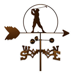 None - Handmade PGA Male Golfer Weathervane - This handcrafted weatherproof weather vane is the perfect addition to any avid golfer's roof or garden. Made from a strong 14-gauge steel,the copper-colored weather vane features an eye-catching design that depicts a male PGA golfer mid-swing.
