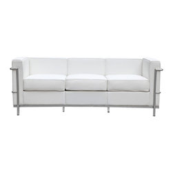 Lemoderno - Petit Sofa In Leather by Lemoderno, White Leather - The LC2 Petite Sofa frames are manufactured using high gauge stainless steel. The tubular frame is polished to a perfect mirror finish. This stainless steel frame will never chip or rust. We have captured the true radius for each of the frame corners. The webbing is 2 Inches nylon with hooks to hold it the frames. Our chairs match the dimensions of the world renowned original brand. This item is a high quality reproduction of the original.