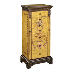 Powell - Powell Masterpiece Antique Parchment Hand Painted Jewelry Armoire - Antique parchment hand painted jewelry armoire belongs to masterpiece collection by Powell. Antique parchment hand painted jewelry armoire is hand painted with floral arrangement on the face and hand carved with the look of golden antique parchment. Includes a flip top with inset mirror. Reveals 2 rows of ring pads and open center section. There are 7 fully lined and divided drawers: 1St drawer- 9 squares, 2Nd drawer- 6 squares, and 3Rd through 7Th drawers- open. 2 swing doors with 100% rayon brown lining. Minimal assembly, attach top only.