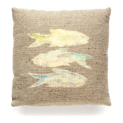 Dransfield & Ross - Dransfield & Ross Painted 3 Fish Pillow - Dransfield & Ross Painted 3 Fish Pillow