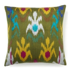 5 Surry Lane - Green Multi Silk Ikat Pillow - Add a beautiful silky pillow to your sofa or bed and you'll instantly elevate your look. The rich color palette brings a touch of ethnic design to your worldly home, while the down-filled insert gives you the softest place to rest your head.