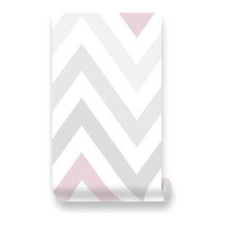 Pink & Blue Baby - Chevron Pink | Grey Removable Wallpaper - Peel & Stick, Repositionable Fabric - Chevron Pink | Grey Peel & Stick Fabric WallPaper has adhesive back with re-positionable and removable. It also can be re-applied over and over and adhesive does not weaken or strengthen over time. All our Premium Fabric WallPapers are Eco-friendly and non toxic.