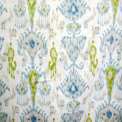 Khanjali Glacier Fabric by Renee's Fabrics - This ikat is woven with beautiful shades of pool blue, taupe and chartreuse accents all on a soft ivory background. It's one of the prettiest ikats I've seen in some time, and it's even more beautiful in person.