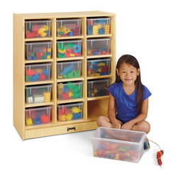 Jonti-Craft - Jonti-Craft 15 Cubbie-Tray Mobile Unit Multicolor - 0647JC - Shop for Childrens Toy Boxes and Storage from Hayneedle.com! Your classroom playroom or child's bedroom is the perfect host to the Jonti-Craft 15 Cubbie-Tray Mobile Unit. This sturdy cubby cabinet is constructed from solid wood featuring a light unfinished look that can be displayed as is or customized with your favorite stain or paint. The edges of the unit are rounded for safety helping to prevent injury. Fifteen cubbie holes are built into the design providing plenty of space to organize and store books toys games and more. A set of 15 perfectly sized plastic trays are available; choose clear or colored plastic or opt to go without trays at all.About Jonti-CraftFamily-owned and operated out of Wabasso Minn. Jonti-Craft is a leading provider of quality furniture for the early learning market. They offer a wide selection of creatively designed products in both wood and laminate materials. Their products are packed with features that make them safe functional and affordable. Jonti-Craft products are built using the strongest construction techniques available to ensure that your furniture purchase will last a lifetime.