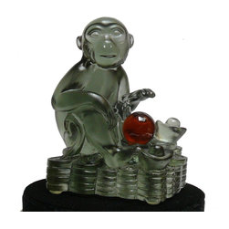 "Golden Lotus - Crystal Glass Liuli Pate-de-verre Monkey Figure Paperweight - Dimensions:   w3.5"" x d2.5"" x h4"""