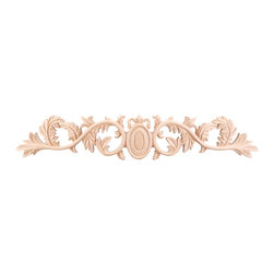 """Hardware Resources - ONL-09-20RW Acanthus Traditional Onlay in Rubber wood - Acanthus Traditional Onlay by Hardware Resources. 20"""" x 3/4"""" x 3 5/8"""" Hand Carved Acanthus & Egg Onlay. Species: Rubber wood."""