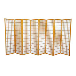 Oriental Furniture - 5 ft. Tall Window Pane Shoji Screen - Honey - 8 Panels - A modern take on a classic Japanese design, this Shoji screen is one of our most popular room dividers. Hand constructed from fiber-reinforced Shoji rice paper and Scandinavian spruce, these allow diffused light without sacrificing privacy. The simple, elegant design fits in with any style of home furnishing and is perfect for sectioning off part of a room, keeping things removed from sight, or even just adding an East Asian accent to your decor.