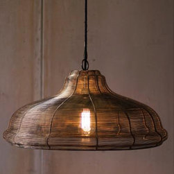 Wire Pendant Lamp - Has UL-listed parts and comes with a six foot cord with plug that can be removed for hard wiring. These unique, hand-crafted accessories are imported from small cottage industries in Colombia, Honduras, Haiti, Morocco, and more.