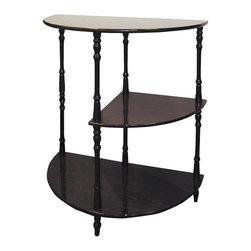 ORE International - 3-Tier Half-Moon Table in Rich Cherry Finish - 2 pc. Crescent and a quarter-circle shape shelves. Durable construction. Use as storage shelves for any space. Use as a console table for DVD's and DVD player. Made from wood composite. 30 Days warranty. 23 in. W x 11.5 in. D x 26 H (10 lbs.)Quickly and easily change the look of your bedroom, den, office, bathroom or entryway with this lovely wooden shelf. The sturdy shelves are great for adding storage space in any room and perfect for displaying decorative items, books, parlor games, knick knacks, decorations, bathroom and vanity supplies and so much more. This shelf will remain in mint condition for years to come.