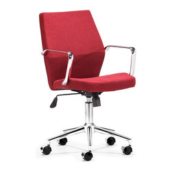Zuo Modern - Holt Low Back Office Chair Red - Geometrical in design, the Holt office chair has a sexy shape. It comes in two styles: red fabric and black or white PU.