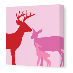 "Avalisa - Animal - Deer Stretched Wall Art, 18"" x 18"", Pink - This endearing work of art will brighten your walls and warm your heart. Each piece is printed on fabric and applied to stretchers for a straight-from-the-gallery look. It would make a wonderful addition to a child's room or nursery."