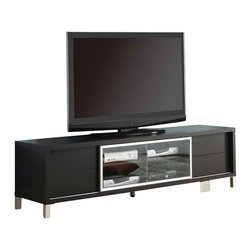Monarch Specialties - Monarch Specialties 70 Inch Euro TV Console in Cappuccino - This euro TV console will be a fashionable addition to your living room, offering clean lines and ample storage space. The contemporary style TV stand has a deep cappuccino finish, with a large top surface for your television. A glass door in the center encloses four shelves that are ideal for electronic components, allowing you to use your remotes through the glass. Four more drawers are great for storage of movies, games, and music. For a perfect finishing touch, this lovely piece is completed with silver square legs and trim. What's included: Media Unit / TV Stand (1).