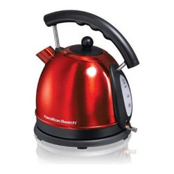 Hamilton Beach - Electric Kettle Red Stainless Steel - This shiny red Stainless Steel 1.80 qt. -- (1.75 Qts. -1.75) Electric Kettle from Hamilton Beach boils water quickly with 1,500 Watts of power. It is faster than a microwave and safer than a stovetop kettle. It features cord-free serving, auto shutoff with boil-dry protection, concealed heating element, drip-free spout, water level window and lighted on/off switch.