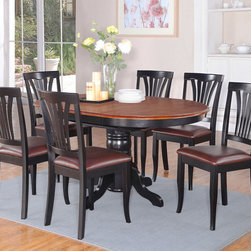 "East West Furniture - Avon 7Pc Oval Dining Set with Single Pedestal and 6 Faux Leather Seat Chairs - Avon 7Pc Oval Dining Set with Single Pedestal with 18"" Butterfly Leaf and 6 Faux Leather Seat Chairs; Sleek hardwood tabletop with sturdy carved pedestal support.; Beveled oval shape for warm kitchen atmosphere.; Dinette extension folds discreetly beneath the tabletop when not in use; Gently arced chair back features graceful carving while providing ample support; Choice of all-wood chair or padded seating; cream-colored seat upholstery is available in easy-clean microfiber; Weight: 214 lbs; Dimensions: Table: 42-60""L x 42""W x 30""H; Chair: 18""L x 17""W x 38.5""H"