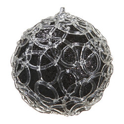Silk Plants Direct - Silk Plants Direct Glittered Swirl Pattern Ball Ornament (Pack of 4) - Black - Pack of 4. Silk Plants Direct specializes in manufacturing, design and supply of the most life-like, premium quality artificial plants, trees, flowers, arrangements, topiaries and containers for home, office and commercial use. Our Glittered Swirl Pattern Ball Ornament includes the following: