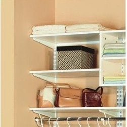 "SCHULTE DISTINCTIVE STORAGE - 7313-1448-11 48X14 WH WO SHELF - FREEDOMRAIL(R) WOOD SHELF  High-quality, furniture grade melamine shelf  Creates durable, organized storage space -  in closet, pantry, linen or laundry areas  Use with FreedomRail(R) wood shelf brackets -  for support and easy adjustment  5/8"" thick - can hold 100 lb. per lineal foot  14"" shelves will accommodate clothes rods when -  used with 12.5"" wood shelf brackets & rod clips    7313-1448-11 48X14 WH WO SHELF  SIZE:48"" x 14""  COLOR:White"