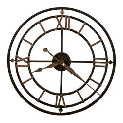 "Howard Miller - Howard Miller - York Station Wall Clock - Enjoy this open yet solid antique wrought iron wall clock, made up of concentric circles of wrought iron in an aged iron finish, with an antique gold finish on the hands and hour markings. The 12, 3, 6, and 9 are displayed in Roman numerals with a diamond accent. The open design allows this clock to match any d̩cor. * This antique style wrought iron wall clock is finished in aged iron with antique gold finished outer ring. . Antique gold finished diamond shapes and Roman numerals mark the 12, 3, 6, and 9 hours. . Antique gold hour and minute hands. . Quartz, battery operated movement. . D. 1-3/4"" (4 cm). Dia. 21-1/4"" (54 cm)"